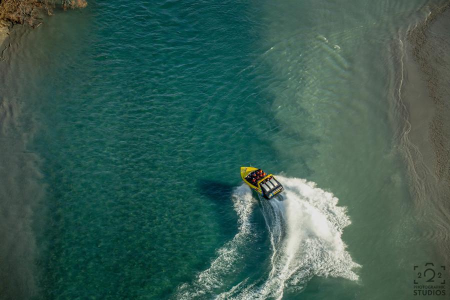 KJet Jet boating aerial views along the Kawarau River