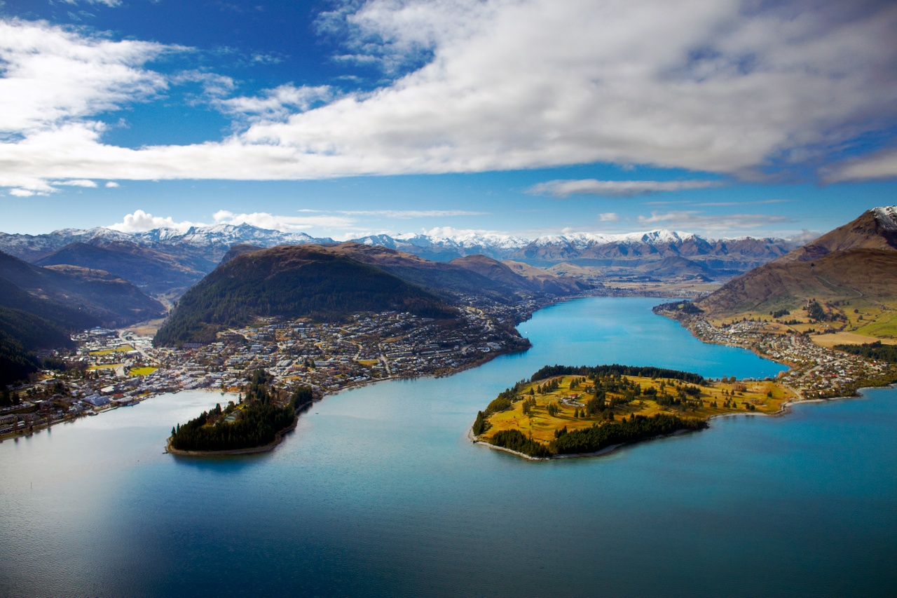 Aerial views over Queenstown