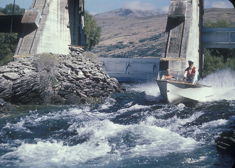 Historic Jet boat under the Kawarau Falls Dam